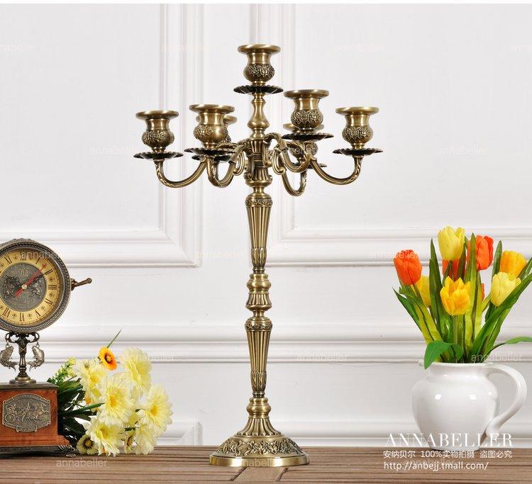 H54 cm 7 arm bronze floral metal candelabra vintage lantern candle holder large decorative candles for