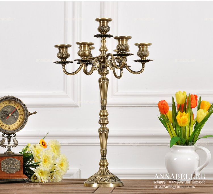 718f527cc H54 cm 7 arm bronze floral metal candelabra vintage lantern candle holder  large decorative candles for home decoration ZT2030-in Candle Holders from  Home ...