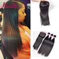 "Brazilian Straight Hair With Closure 8""-28"" 4 Bundles With Closure Cheap Brazilian Virgin Hair With Closure 100% Human Hair"