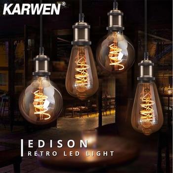 Bombilla LED Edison Vintage E27 regulable ST64 A60 G80 G95 85-265V antigua...