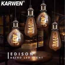 Vintage bombilla LED Edison E27 regulable ST64 A60 G80 G95 85-265V antiguo Bombillas lámpara E27 2200K lámpara de filamento