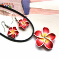 Red Hawaii Flowers Crystal Earrings Pendant Necklace Polymer Clay Jewelry Set
