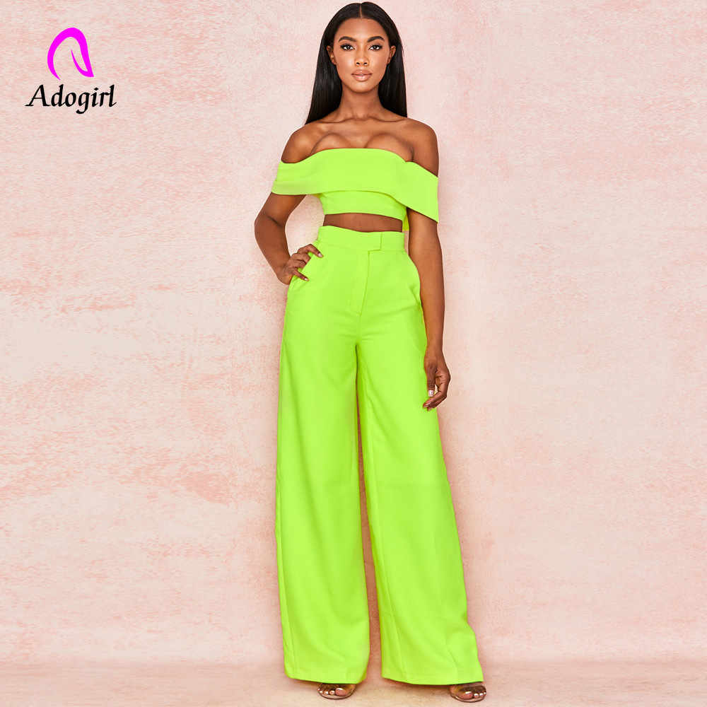 Adogirl Neon Slash Neck Two Piece Set Off Shoulder Elegant Women Crop Top and Wide Leg Pants Bodycon Long Trousers Women Suits in Women 39 s Sets from Women 39 s Clothing