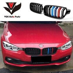 F30 F31 ABS połysk 3-kolor M-wygląd samochodu stylizacji przedni zderzak Racing Grill maskownica do BMW serii 3 f30 F31