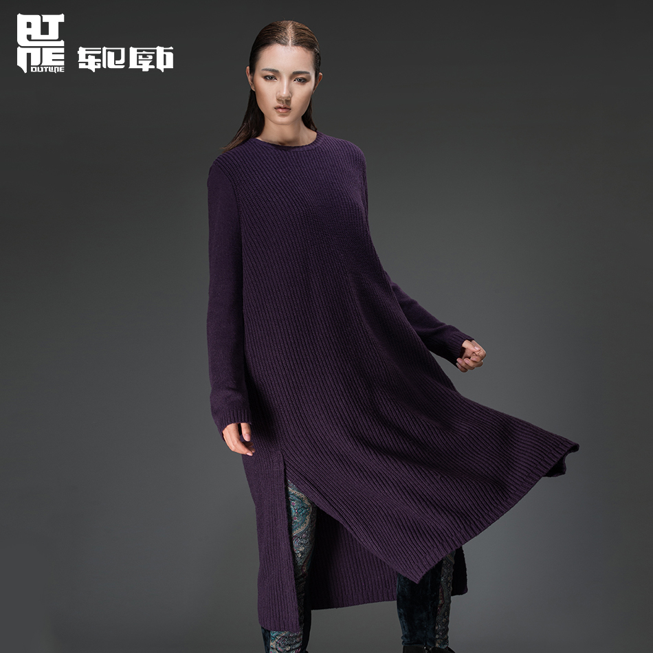 Outline Top Designer Women Loose Sweater Dress for Autumn and Winter Long Knitted Dress in Plus Size Side Slit Dresses L143M001