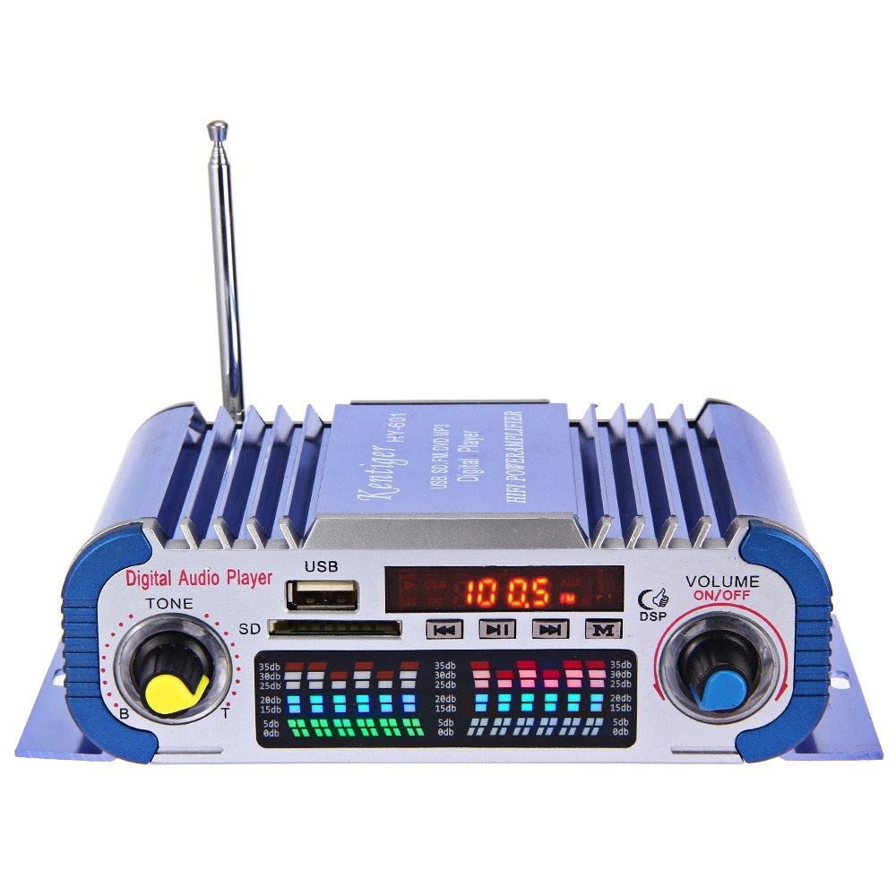 USB FM Audio 12V LED Car Stereo Amplifier Radio MP3 Speaker Hi-Fi 2 Channel Digital Display Power Player Support CD DVD