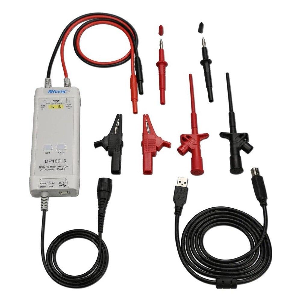Micsig osciloscópio 1300 v 100 mhz alta tensão diferencial sonda kit 3.5ns aumento tempo 50x/500x atenuação taxa dp10013