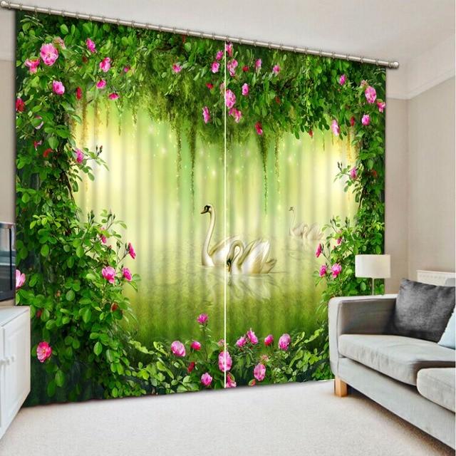 3d personalizzato cortinas foresta vergine del Lago dei Cigni 3d ...