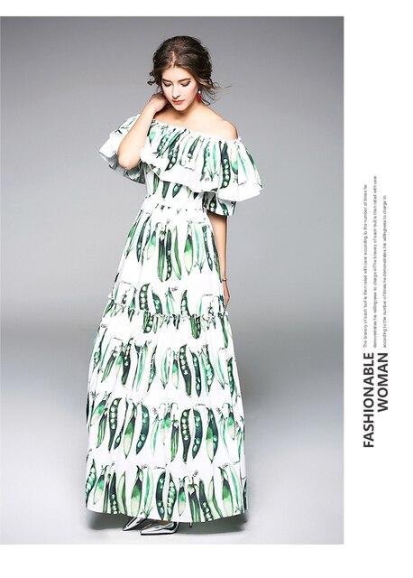 e7b2fcff25 Plus Size New Pea Pod Printing Shoulder Off Women New Chiffon Long Dress  Show Skinny Female Maxi Dresses