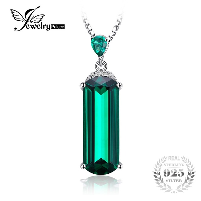 JewelryPalace Fancy Cut 4.4ct Created Green Emerald Pendant For Women 925 Sterli
