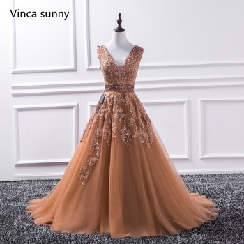 sexy v neck lace long prom dresses 2017 new tulle beaded appliques princess ball gown.jpg 350x350