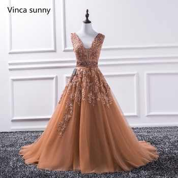 Sexy V Neck Lace Long Prom Dresses 2019 New Tulle Beaded Appliques Princess Ball Gown Vintage Evening Dress Vestido De Festa - DISCOUNT ITEM  25% OFF All Category