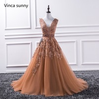 Sexy V Neck Lace Long Prom Dresses 2017 New Tulle Beaded Appliques Princess Ball Gown Vintage Evening Dress Vestido De Festa