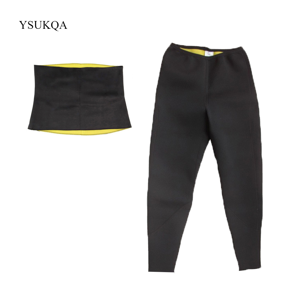 YSUKQA Women Hot Shaper Sweat Fitness Set Long Pants With Belt Body Shaper Tummy Control Pant Slimming Belt