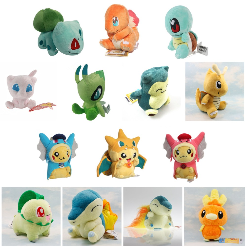 New Cartoon Plush Toys Pikachu Charmander Bulbasaur Snorlax Dragonite Cyndaquil Raichu Stuffed Animals Plush Doll kids Toys