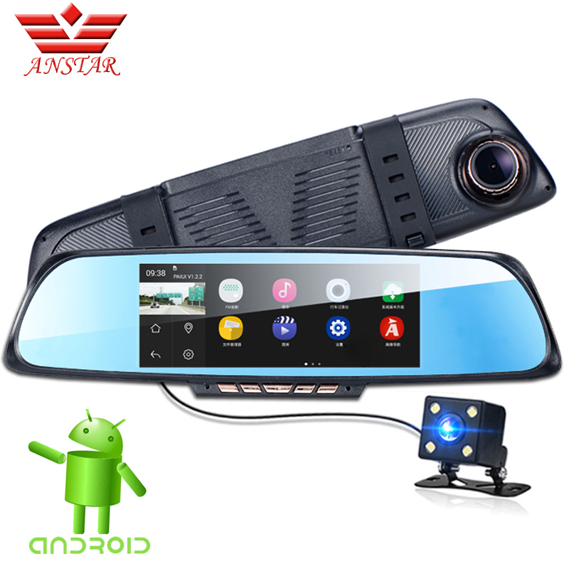 ANSTAR Car Camera DVR 6.86'' Touch GPS Car DVR Dual Lens Camera Rearview Video Recorder Mirror FHD 1080P WiFi Android Dash Cam 5 inch car camera dvr dual lens rearview mirror video recorder fhd 1080p automobile dvr mirror dash cam