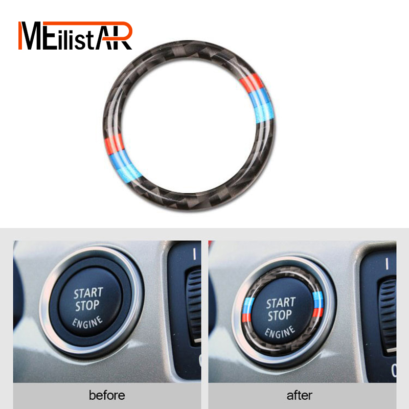 Car styling Car Engine Start Stop Ignition Key Ring <font><b>Stickers</b></font> Carbon Fiber circle M Stripe Trim For <font><b>bmw</b></font> e90 e92 e93 3 Series image