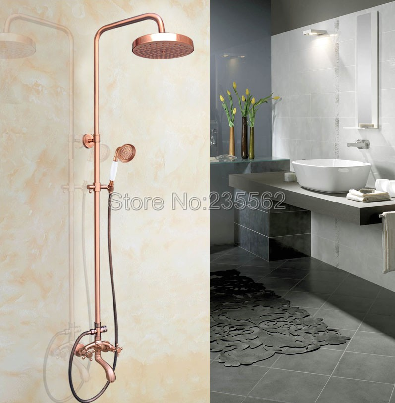 Antique Red Copper Rainfall Bathroom Shower Faucet Set with Wall Mounted Bath Tub Mixer Tap + Hand Spray lrg505