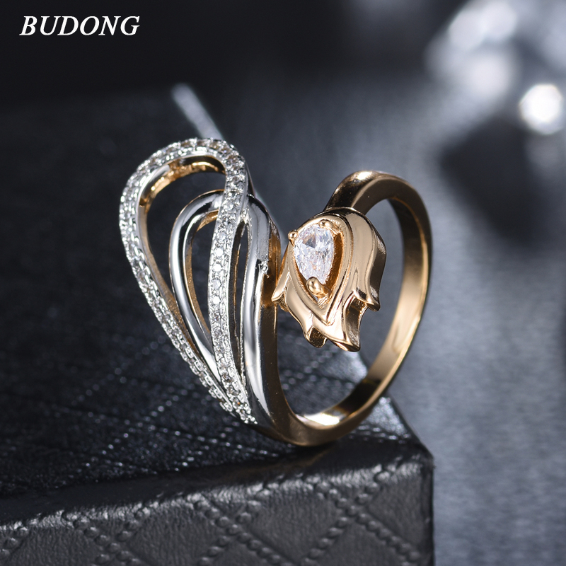 BUDONG Trendy Crystal Rings For Women Hollow Geometric Statement Engagement Ring Gold Silver Color Party Bijoux Wholesale XUR695