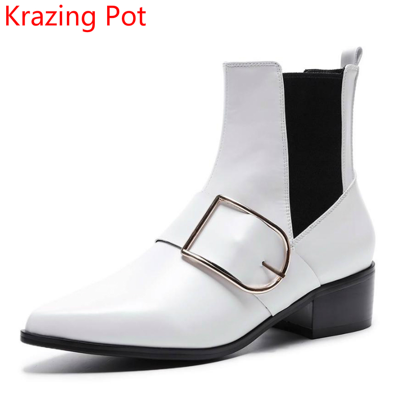 2018 Fashion Genuine Leather Winter Boots Metal Buckle Runway Thick Med Heels Chelsea Boot Pointed Toe Women Ankle Boots L66 farvarwo formal retro buckle chelsea boots mens genuine leather flat round toe ankle slip on boot black kanye west winter shoes