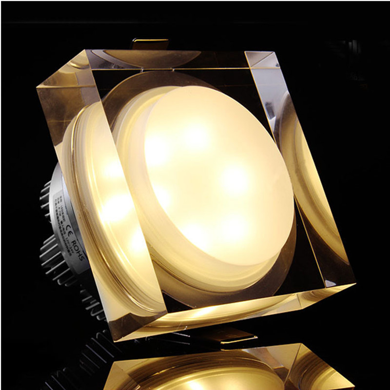 DVOLADOR Square 15W 12W 10W 5W LED Crystal Downlight LED Ceiling Spot Light Warm White/White LED Recessed Lamp for Home Decor