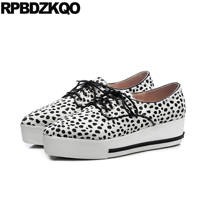 Italian Designer Striped Creepers Wedge Pointed Toe Leopard Print Elevator Sneakers Muffin Thick Sole Vintage Women Oxfords