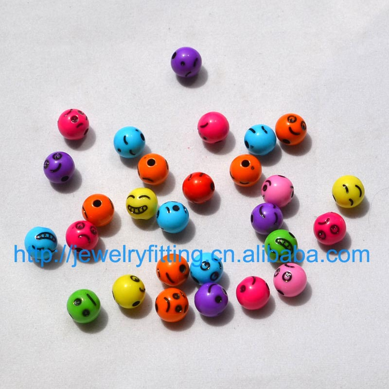 100pcs DIY fashion jewelry Accessory 8MM Acrylic Sugar Beads Cartoon Smile Face Mix Color And Mix Design Expression Beads