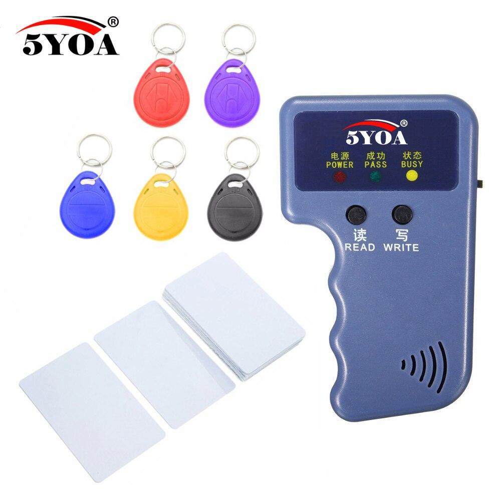 RFID lector de vídeo programador 125 Khz EM4100 copiadora escritor duplicador + EM4305 T5577 Rewritable ID Keyfobs etiquetas tarjeta