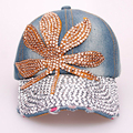 Very Nice Maple Leaf Rhinestone Denim Baseball Caps Retail and Wholesale High Quality Ladies Exquisite Drill Decorated Hat SY576