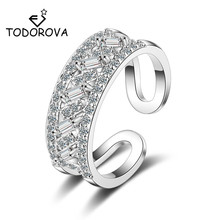 Todorova High Quality Geometric Double-layer White CZ Stone Wedding Rings for Women Adjustable Luxury Full Cubic Zircon Jewelry
