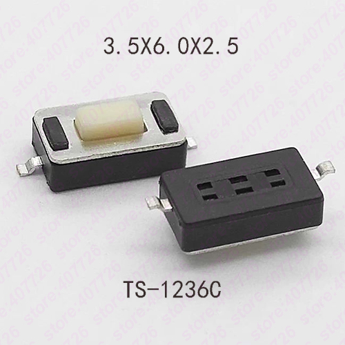 Promotion 50pcs/lot SMT 3x6x2.5MM TS-1236C 2PIN Tactile Tact Push Button Micro Switch Self-reset Momentary Tact Button Switch 50pcs micro push button 3x4x2 5 4feet u type smt tact button switch mounting for car system cigarette tool
