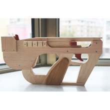 blaze away machine gun with leather band Wood Submachine gun model Single shot Loading Rubber and launches toy boy