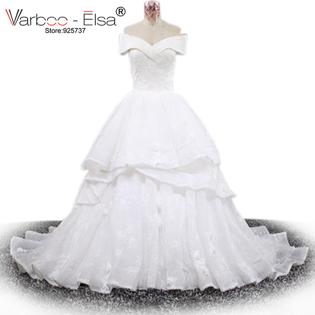Varbooels Romantic Sweetheart Wedding Dress White Organza Lace