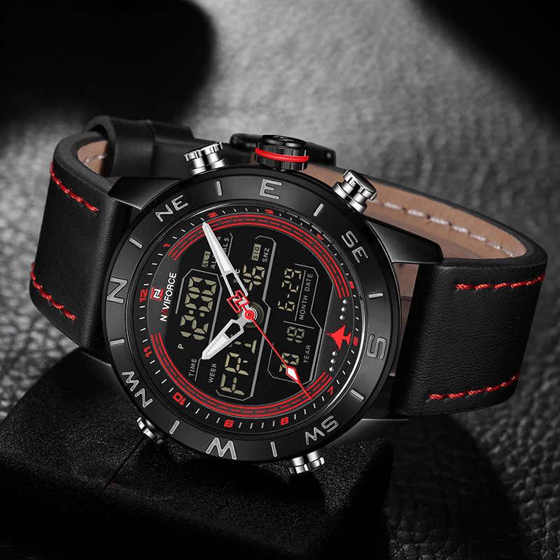 NAVIFORCE Брендовые мужские Кварцевые спортивные часы мужские из натуральной кожи Водонепроницаемые наручные часы мужские модные повседневные часы с подсветкой