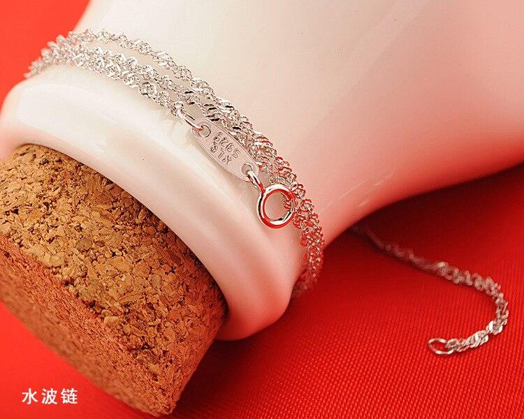 Fanqieliu 6 Style Real 925 Sterling Sølv Halskjeder Slim Tynn Snake - Mote smykker - Bilde 6