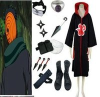 Anime Naruto Cosplay Apparel Naruto Akatsuki Costume Set Sasori Tobi Obito Bundle Big Promotional Package Free