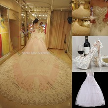 Amazing 2016 Luxuries Bridal Ball Gown Crystal Sequins Cathedral Train Tulle women wedding Dresses + Shoes of style6 +Petticoat