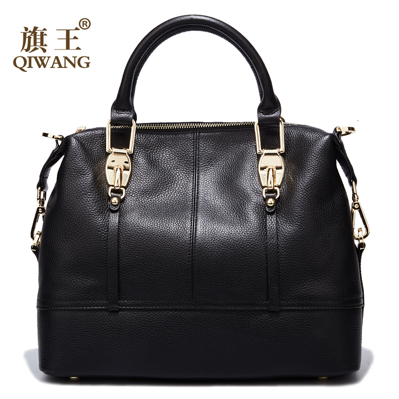 Image 3 - QIWANG Women's Bags Genuine Leather Roomy Bowling Hand bag Full Grain Cowhide Handbags Ladies Fashion Purses for Commuting&Party-in Top-Handle Bags from Luggage & Bags
