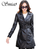 Smiao 2018 Women's Spring Jacket Long Patchwork Faux Pu Leather Jacket Outerwear Plus Size Autumn Female Coat Adjustable Waist