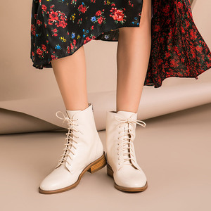Image 2 - BeauToday Ankle Boots Women Calfskin Genuine Leather Round Toe Lace Up Back Zipper Winter Lady Fashion Shoes Handmade 02202