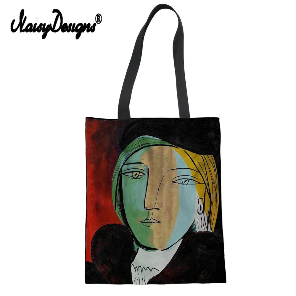 Girls Cotton Canvas Large Tote Trendy Bag For Women 2019 Shopping Handbag Picasso Master Painting Printed Foldable Reusable Pack