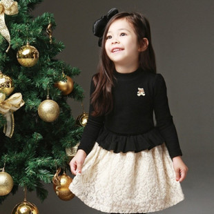 Free shipping Spring girls long-sleeved dress girls hit color stitching children clothing