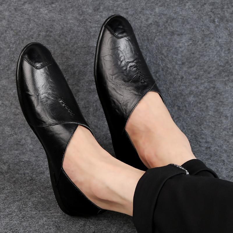 Et Mode Mocassins Black De Slip Homme red Brown Solide Jeunes on Hommes Brown Travail Pour Plate Chaussures Casual 2018 Vache En forme Véritable dark Conduite Cuir Zd7zndx