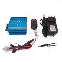 Blue Motorcycle Motobike Wireless Remote Anti Theft Alarm Speaker USB MP3 AUX TF Card FM Radio