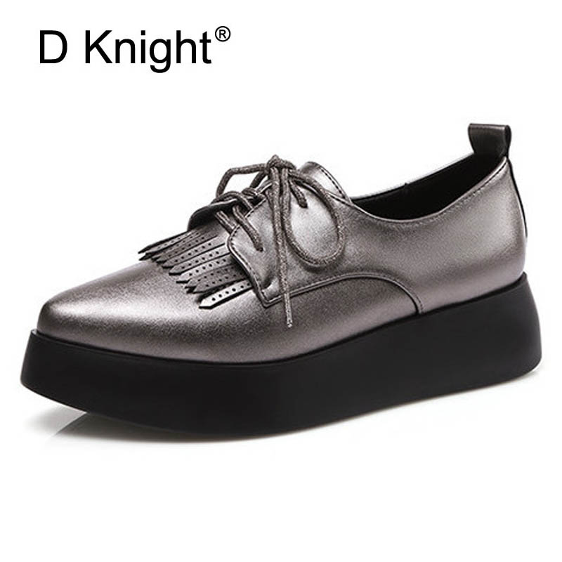 Women Flat Platform Shoes Tassels Flats Creppers Shoes Woman British Style Oxford Shoes For Women Pointed Toe Casual Wedges E86 new brand black white vintage women footwear lace up casual oxford flat shoes woman british style breathable zapatos mujer