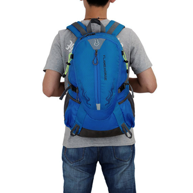 Flame Horse Outdoor Hiking Backpack Waterproof Nylon Men Women Bag Unisex Travel Bag Mountain Camping Climbing Rucksack