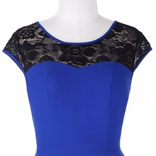 Retro Vintage Cap Sleeve Crew Neck Lace Splicing 50s Big Swing audrey hepburn Pinup Lace Plus Size Woman Dresses vestidos