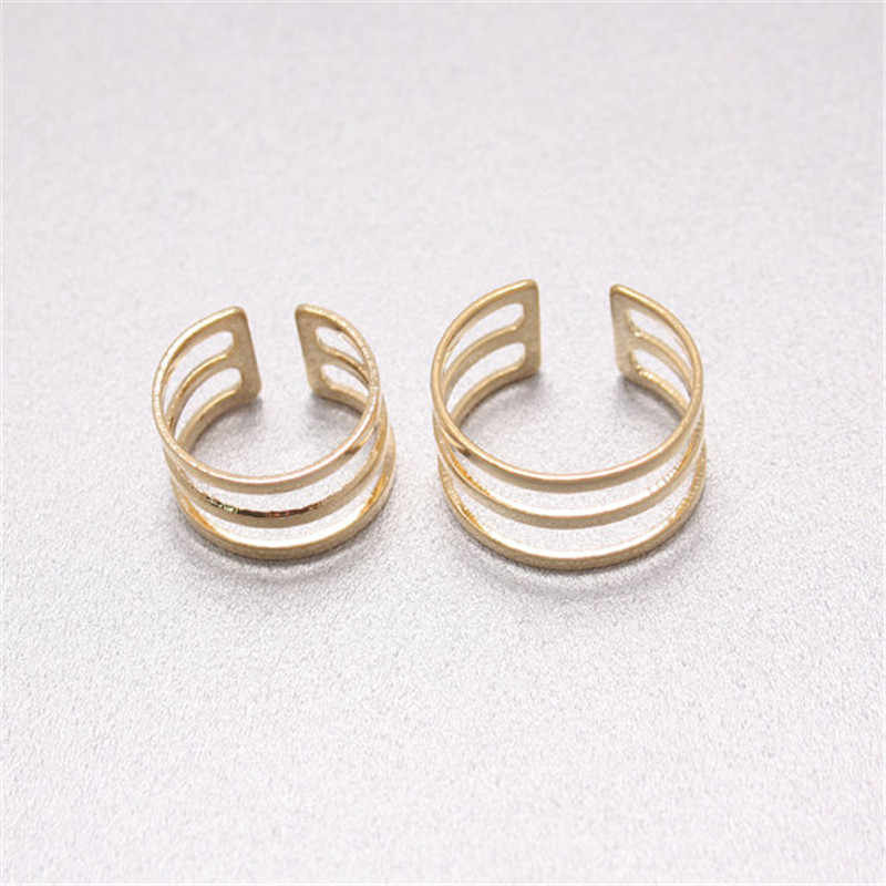 Yiustar Double Round Geometric Open Ring Simple Boho Three Line Rings Jewelry for Women Men Fashion Cute Couple Rings Love Gift