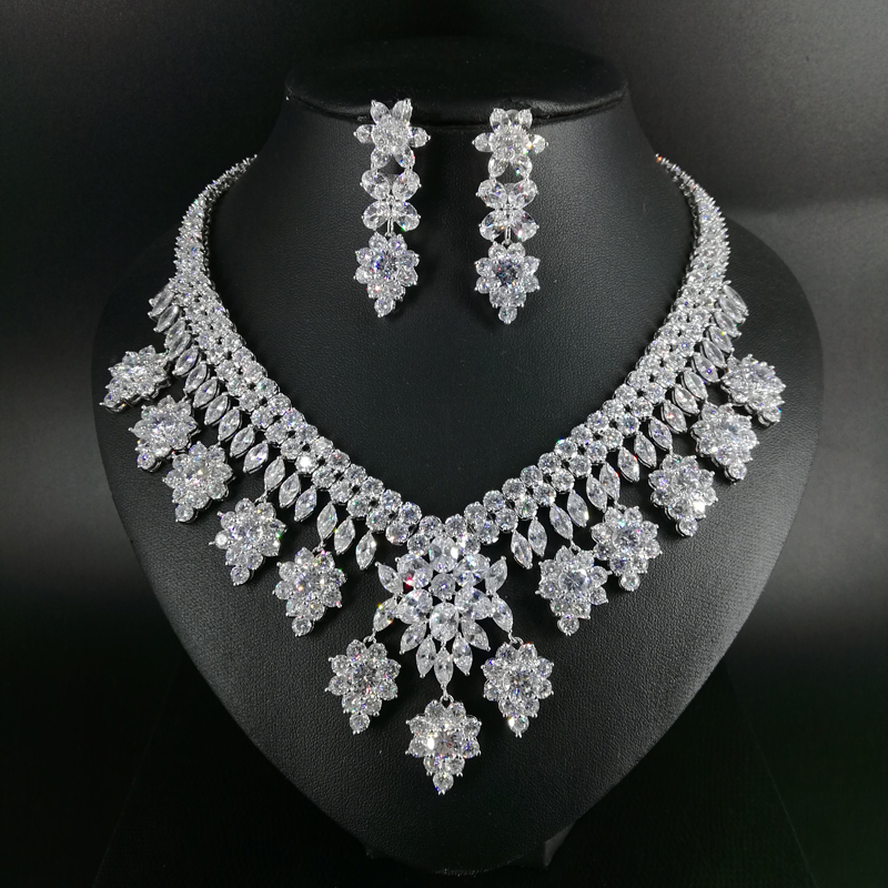 New fashion luxury retro romantic crystal flowers zircon necklace earring  set,wedding bride dinner party formal jewelry set|Jewelry Sets| - AliExpress