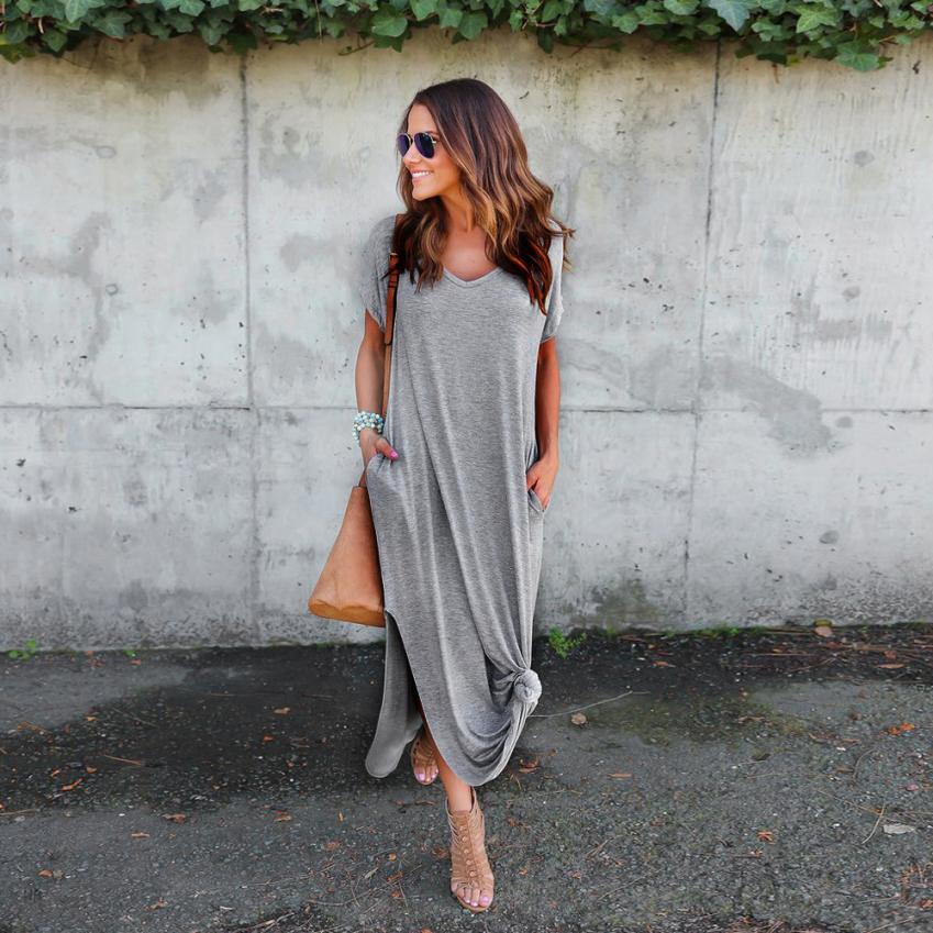 Women Casual Long Dress Summer Soild  Floor-Length Short Sleeves Comfortable Cotton T-shirt Maxi Dresses Womens Tunic #BF